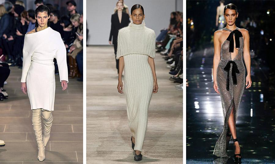 Από τις συλλογές των οίκων μόδας για το φθινόπωρο 2020-χειμώνας 2021: Λευκό μίντι, Proenza Schouler // Μάξι από πλεκτό ριμπ, Jil Sander // Η σούπερ σέξι βραδινή τουαλέτα, Tom Ford