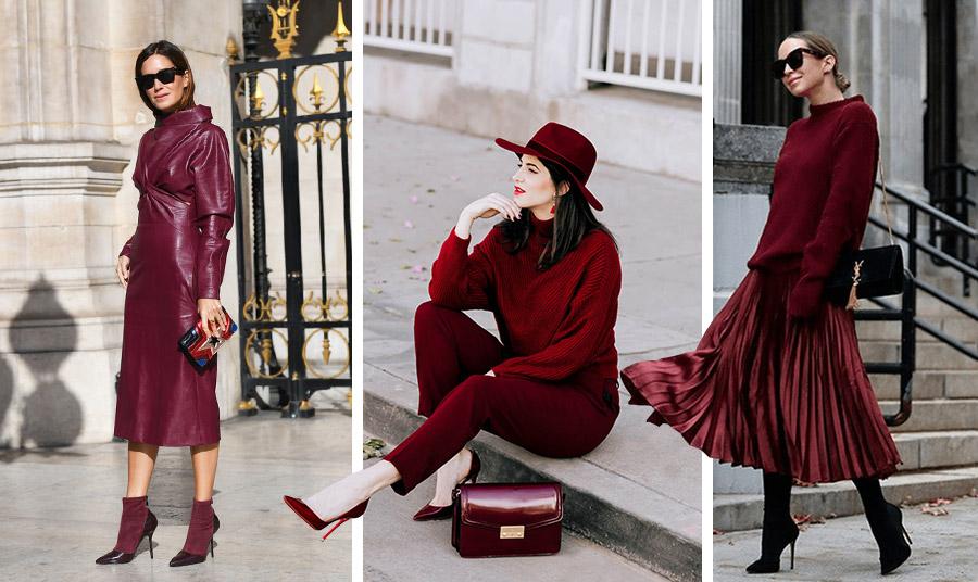 Η μονοχρωμία είναι για μία ακόμη φορά πολύ επίκαιρη! Το βαθύ κόκκινο δίνει αφορμή για πολύ εντυπωσιακές εμφανίσεις: Με ένα φόρεμα, με παντελόνι και πουλόβερ ή με μία πλισέ φούστα και ένα πλεκτό μαζί με τα αξεσουάρ όλα σαν παλιό… κρασί!