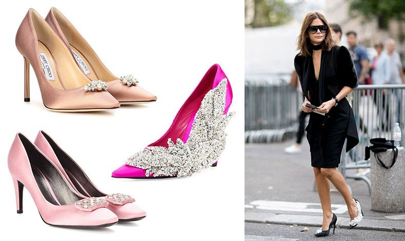 Σατέν γόβες με αγκράφα από πέρλες, Jimmy Choo // Με κρυστάλλους σαν πλοκάμια και glam προσέγγιση, από τα πλέον hot παπούτσια της σεζόν, Balenciaga // Σε ροζ σατέν, Bottega Veneta // H Christine Centenera με Balenciaga
