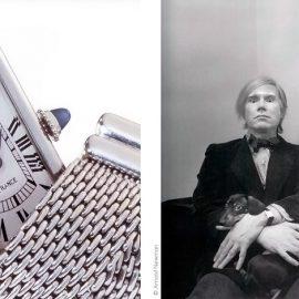 Petite Tank Rectangle με μπρασελέ από πλατίνα και κρυφό κούμπωμα, από ιδιωτική συλλογή στην Μπολόνια της Ιταλίας / Ο Andy Warhol, μεγάλος συλλέκτης των Tank, φωτογραφήμένος από τον Arnold Newman το 1973