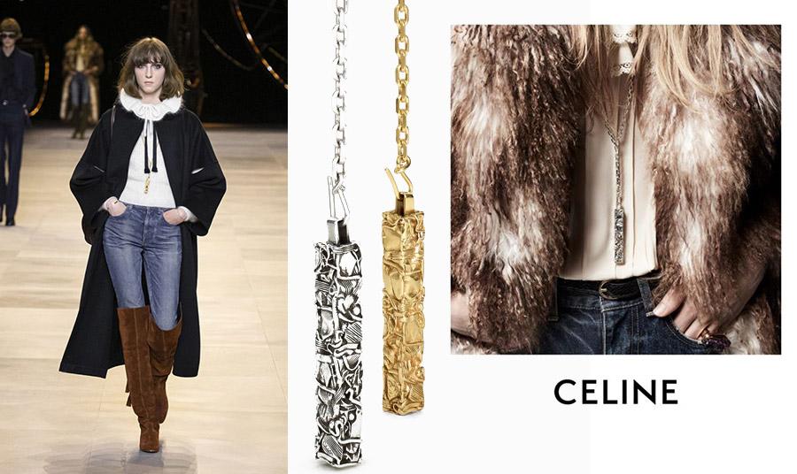 Με την κομψή, ανδρόγυνη εμφάνισή του, το μενταγιόν της Celine παίρνει τη θέση του σαν ένα φυσικό… συμπλήρωμα της rock 'n' roll συλλογής του οίκου για το φθινόπωρο του 2020. Μίας συλλογής που στην πασαρέλα εμφανίστηκαν άπειρα στενά τζιν και γούνινα παλτό