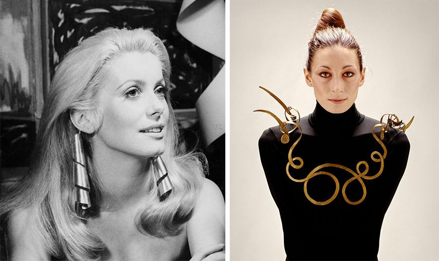 Η Κατρίν Ντενέβ φορούσε τα σκουλαρίκια Lampshade του Man Ray σε μία εμβληματική φωτογράφηση το 1968 // Η Αντζέλικα Χιούστον φορούσε το 1976, το κολιέ Jealous Husband του Alexander Calder (σχεδιάστηκε γύρω στο 1940).
