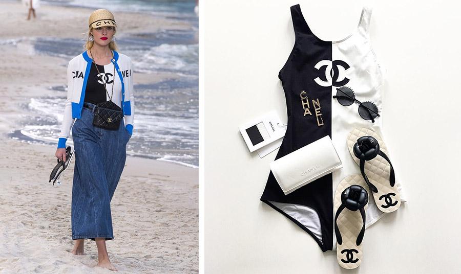 Από την επίδειξη μόδας του οίκου Chanel στο Grand Palais στο Παρίσι, όπου το υπέρκομψο ολόσωμο μαγιό παρουσιάστηκε συνδυασμένο με τζιν παντελόνα και πλεκτή ζακέτα // Όλα τα απαραίτητα για την πλαζ από τον οίκο Chanel