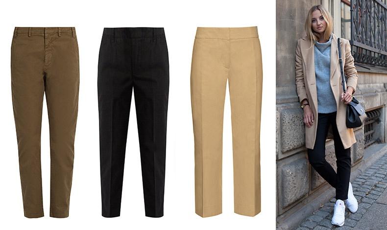 Σε καφέ χρώμα, Νο21 // Σε μαύρο κλασικό, Vince // Σε ίσια γραμμή, Marni // Φορέστε τα chinos σας με sneakers