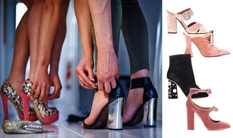 Τα στολισμένα τακούνια ή με ιδιαίτερα σαν γλυπτά σχήματα ταιριάζουν τέλεια με το κλασικό μικρό μαύρο  φόρεμα. Σε παστέλ ροζ, Ταbhita Simmons // Γλυπτό τακούνι, Mary Katrantzou // Στολισμένο με κρυστάλλους τακούνι, Dolce&Gabbana // Βελούδινο ροζ, Aquazzura