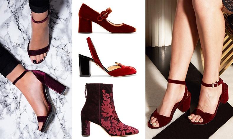 Τα παντελόνια όσο και οι ολόσωμες φόρμες μπορούν να τα αναδείξουν! Βελούδινο μπορτνό, Prada // Kόκκινο, Charlotte Olympia // Μποτάκι μπροκάρ,  Alexander Birman