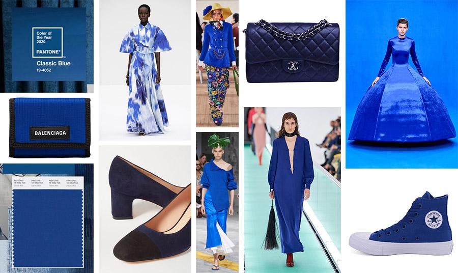 Το μπλε της μόδας… φυσικά! Οι πασαρέλες αλλά και οι δρόμοι των πόλεων θα κατακλυστούν από το βαθύ μπλε: Μακρύ μπλε-λευκό φόρεμα, Moschino // σακάκι με λουλουδάτο παντελόνι, Marc Jacobs // τσάντα, Chanel // Τουαλέτα και πορτοφόλι, Balenciaga // Παπούτσια, Stuart Weitzman // Φόρεμα, Marni // Μακρύ φόρεμα, Gucci // Αθλητικά, Converse All Star