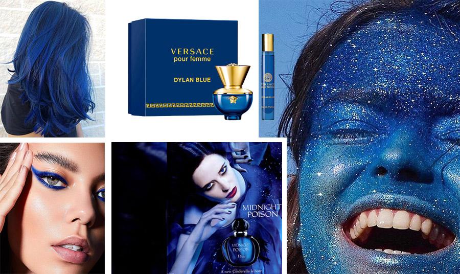 Το χρώμα της χρονιάς και στην ομορφιά, από τις αποχρώσεις του μπλε στα μαλλιά και στο μακιγιάζ μέχρι τα μπουκάλια διάσημων αρωμάτων, όπως το pour Femme Versase ή το Mindnight Poison Dior
