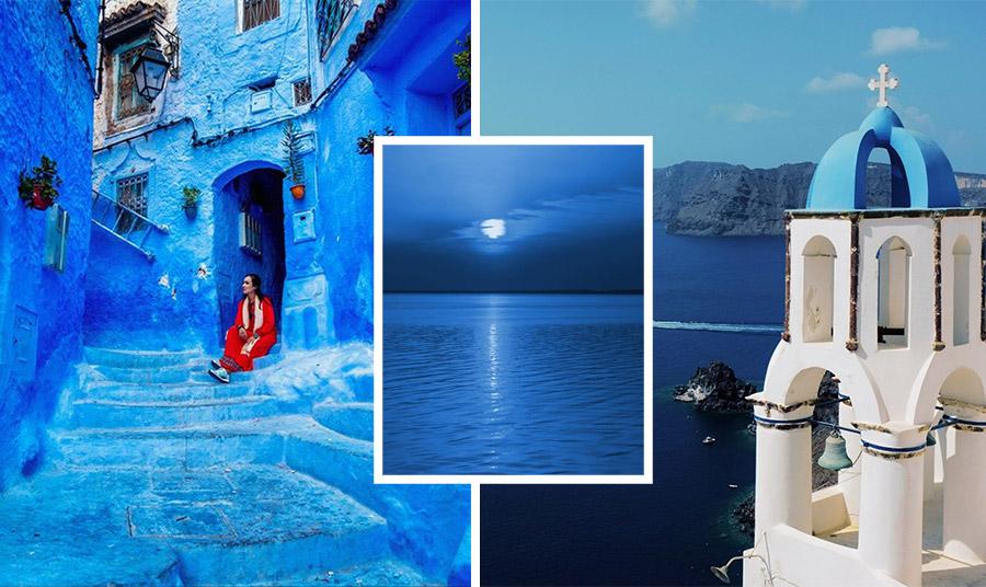Η έκφραση του Classic Blue περνά και μέσα από το ταξίδι, όπως το Chefchaouen στο Μαρόκο ή το απέραντο γαλάζιο της Σαντορίνης…