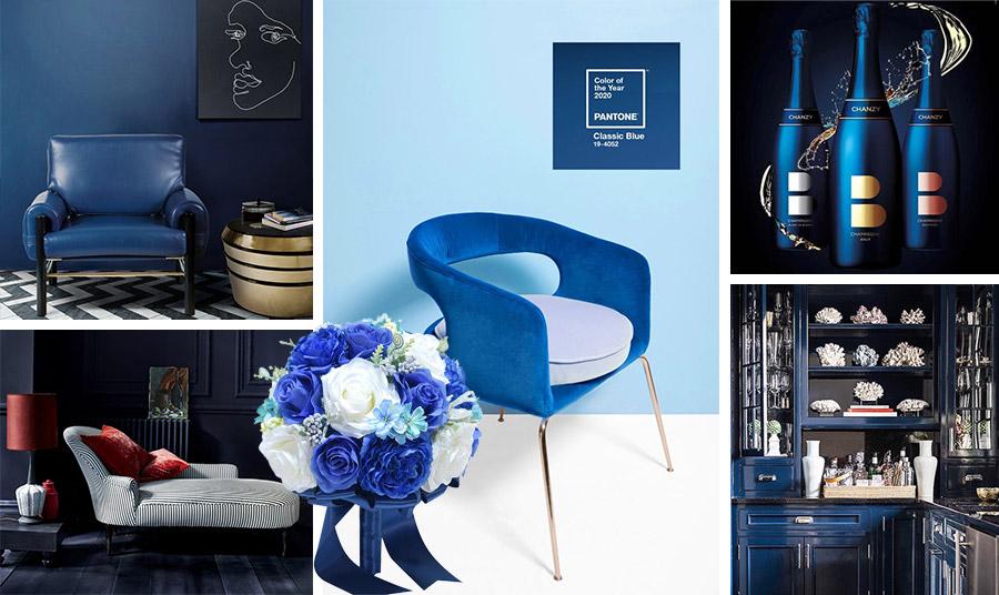Διακόσμηση σε Classic Blue… Τοίχοι ή τα ντουλάπια της κουζίνας, μία πολυθρόνα ή μία ανθοδέσμη, αλλά και ποτά με μπουκάλια στο χρώμα της χρονιάς, για να το εντάξετε στην καθημερινότητά σας