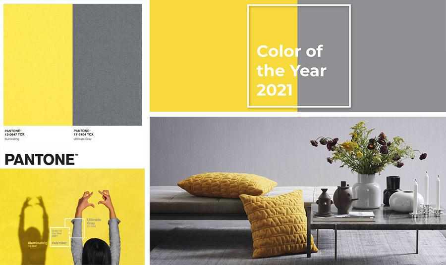 Το PANTONE 13-0647 Illuminating είναι ένα λαμπερό και χαρούμενο κίτρινο χρώμα με ζωντάνια. Το PANTONE 17-5104 Ultimate Grey είναι εμβληματικό, που συμβολίζει τη σταθερή βάση και τα γερά θεμέλια