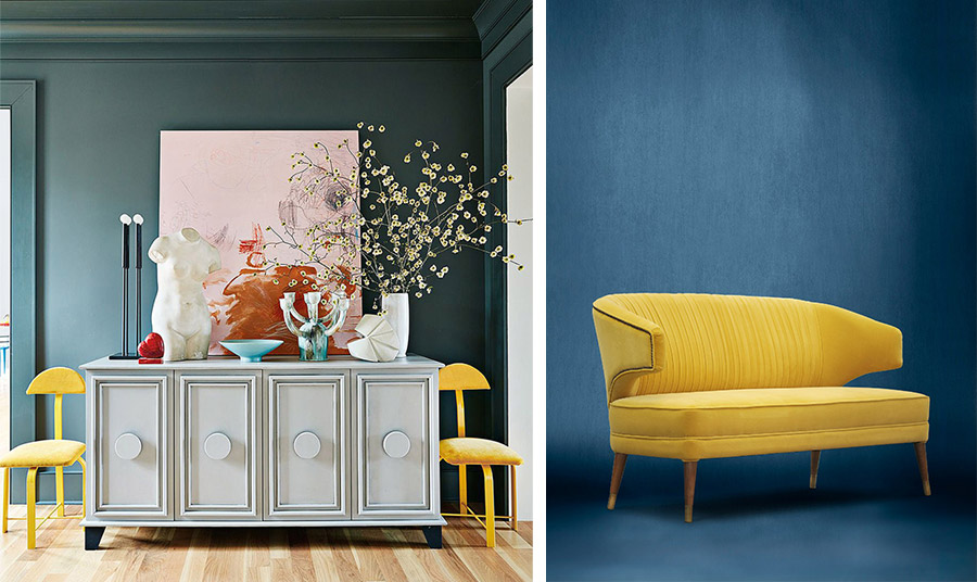 Σκούρο γκρι στους τοίχους που φωτίζονται με συνδυασμό άλλων χρωμάτων και δύο ιδιαίτερης αισθητικής κίτρινες καρέκλες // Ένας κίτρινος καναπές είναι statement!