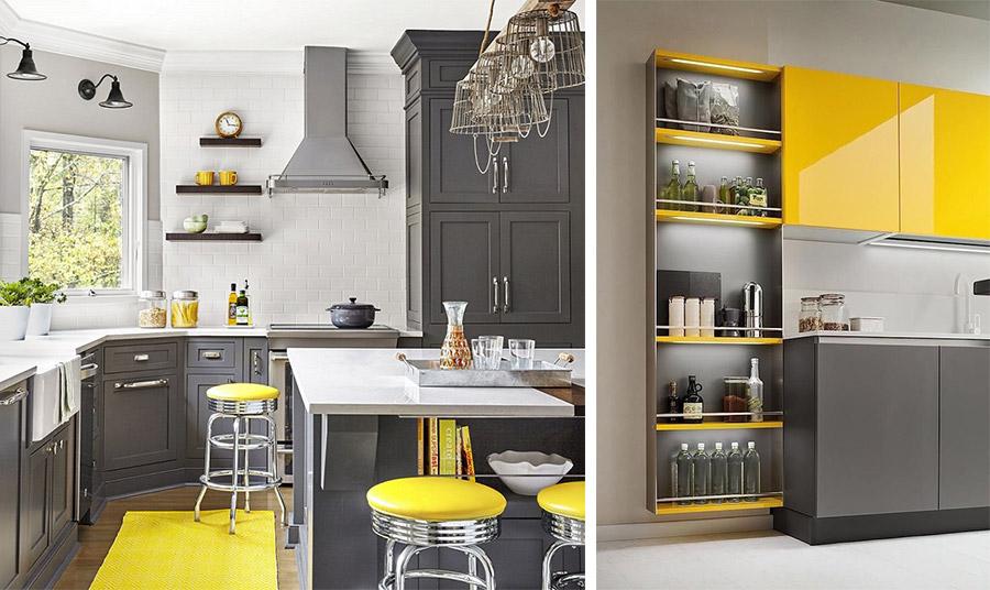 Το σκούρο γκρι με το λαμπερό κίτρινο μπορεί να δημιουργήσει ένα πολύ εντυπωσιακό αποτέλεσμα στην κουζίνα. Industrial και μοντέρνο αλλά και vintage στιλ, ανάλογα με τα υλικά και τις γραμμές