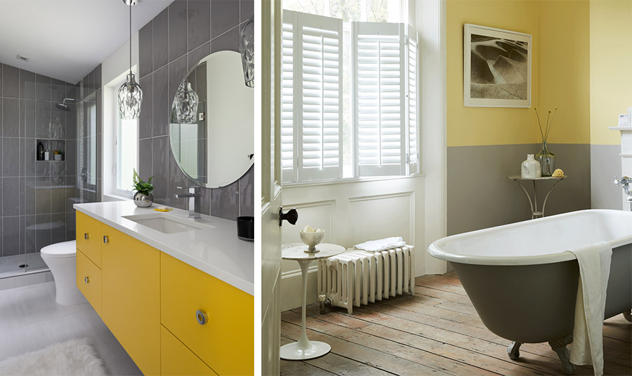 Η εφαρμογή του συνδυασμού γκρι-κίτρινο μπορεί να γίνει ακόμη και στο μπάνιο σας!