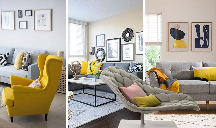 Το κίτρινο σε κάνει χαρούμενο και το γκρι είναι το τέλειο ουδέτερο χρώμα. Απλά μια νότα κίτρινου μέσα στο γκρι για δίνει μία ξεχωριστή πινελιά στον χώρο του σαλονιού // Η μοναδική πολυθρόνα-ανάκλινδρο της εταιρείας Moroso, υπενθυμίζει ότι το γκρι αγαπά… το βελούδο!