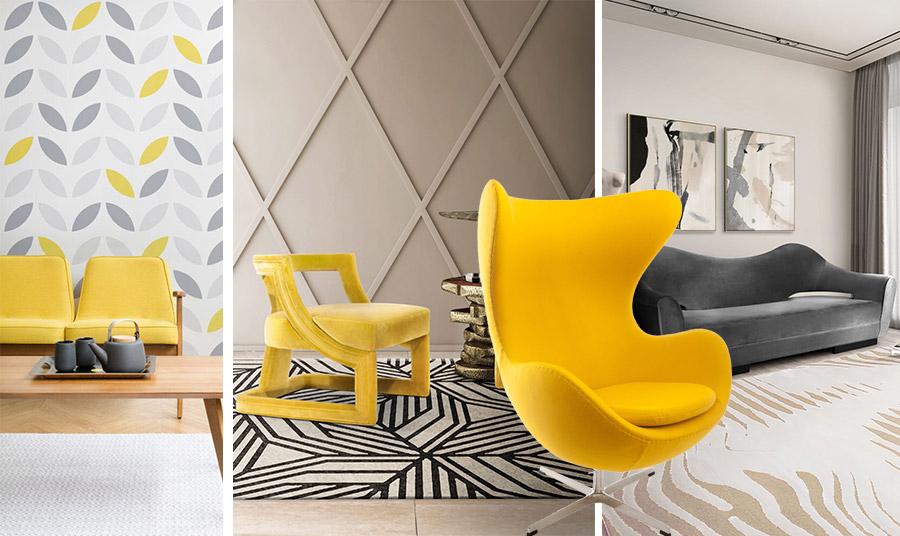 Το γκρι με το κίτρινο σε συνδυασμό με κρεμ αποχρώσεις και τις ανάλογες γραμμές και φόρμες δημιουργούν ένα πολύ μοντέρνο αποτέλεσμα // Η υπέροχη πολυθρόνα του ντιζάινερ Arne Jacobsen σε φωτεινό κίτρινο είναι μοναδική!