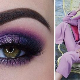 Οι μοβ σκιές στα μάτια δημιουργούν ένα βαθύ, μυστηριακό βλέμμα // Κοστούμι στο χρώμα της λεβάντας, Louis Vuitton