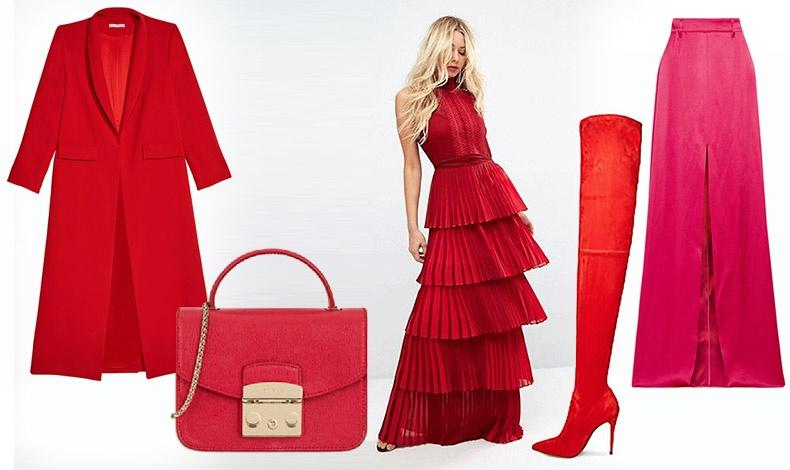 Kόκκινο παλτό, Alice&Olivia // Κόκκινη τσάντα, Furla // Εντυπωσιακό κόκκινο φόρεμα με πλισε, Assos // Ψηλή μπότα, Steve Madden // Φούστα με ντεγκραντέ φούξια αποχρώσεις, Prada