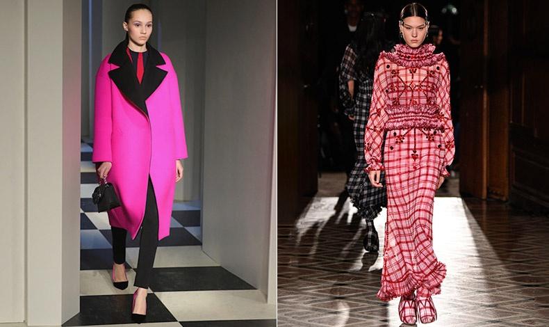 Φούξια μαντό συνδυασμένο με μαύρα και μία πινελιά κόκκινου, φθινόπωρο 2017-χειμώνας 2018, Oscar de la Renta // Mακρύ φόρεμα από τη συλλογή φθινόπωρο 2017-χειμώνας 2018, Givenchy