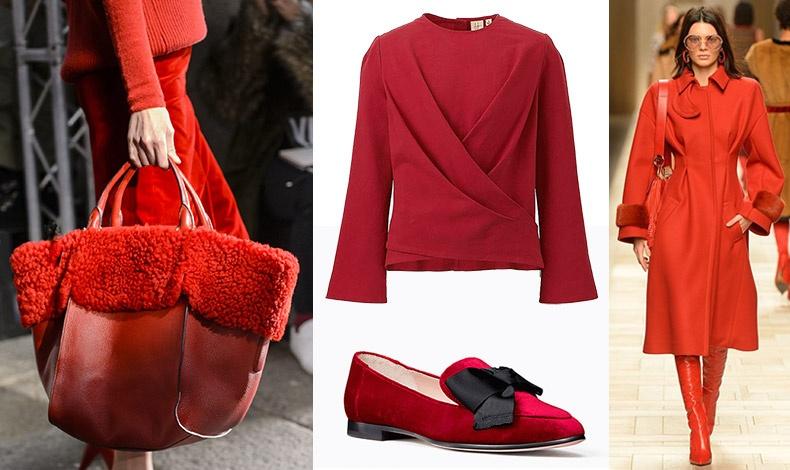Ύμνος στο κόκκινο! Εντυπωσιακή τσάντα με ολοκόκκινο σύνολο, από τη φετινή συλλογή, Prada // Κόκκινη μπλούζα, Uniqlo // Σουέντ φλατ με μαύρο φιόγκο, Kate Spade // Φωτιά στα κόκκινα από την πασερέλα, Fendi