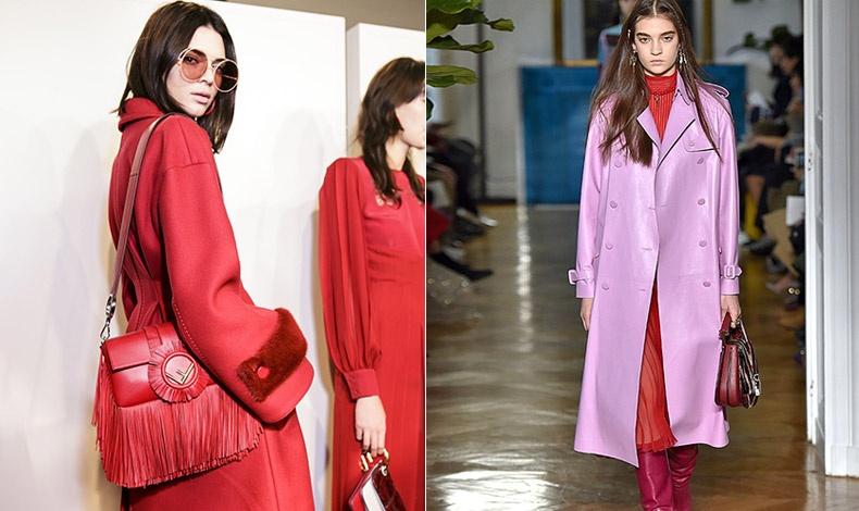 Από τα παρασκήνια της επίδειξης Fendi // Συνδυασμός κόκκινου και ροζ, Valentino