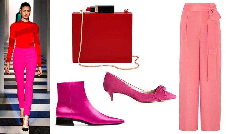 Φθινόπωρο 2017-χειμώνας 2018, Oscar de la Renta // Κόκκινο clutch με κούμπωμα κραγιόν, Lulu Guiness //  Φούξια γοβάκι, Anne Taylor // Μποτάκι σε λαμπερό ροζ, Zara // Λαμπερό ροζ παντελόνι, J. Crew