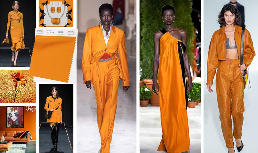 Mία ιδιαίτερη απόχρωση, ένα μουντό πορτοκαλί που ταιριάζει πολύ στο φθινόπωρο. Το χρώμα του «παλαιωμένου τσένταρ» έρχεται σε μία ποικιλία μονοχρωματικών επιλογών, ενώ ταιριάζει μοναδικά με σκούρα μπλε, σκούρα κόκκινα και μπορντό αλλά και γκρι