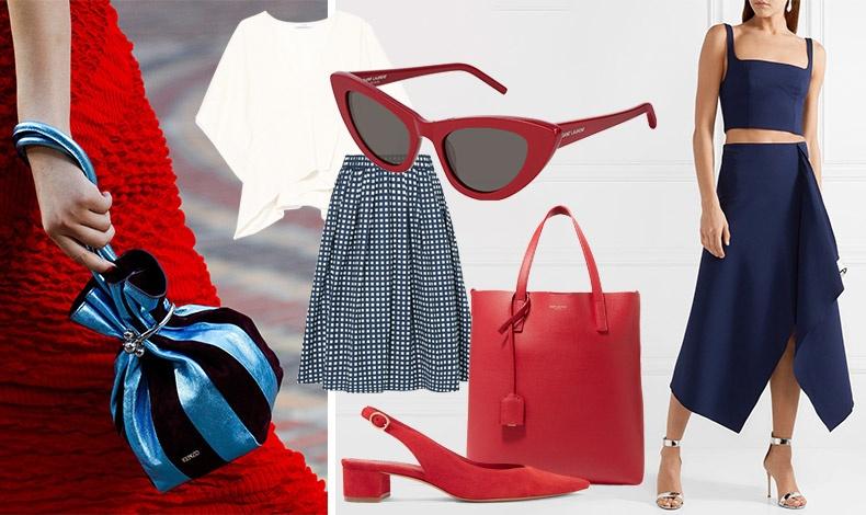 Κλασικός και πάντα επίκαιρος συνδυασμό σκούρο μπλε και κόκκινο! Μπλε τσαντάκι και κόκκινο φόρεμα, Kenzo // Λευκό τοπ, Ιro // Kόκκινα γυαλιά, Lily, Saint Laurent // Πουά φούστα, Michael Kors // Τσάντα, Saint Laurent // Παπούτσι, Mansur Gavriel