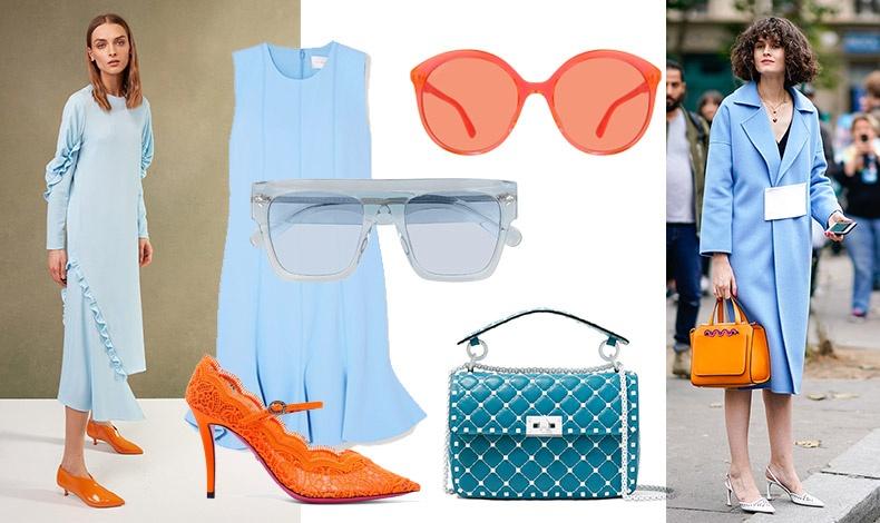 Η τελευταία λέξη της μόδας, ρομαντικό γαλάζιο και εκρηκτικό πορτοκαλί! Από τη συλλογή, Tibi // Γαλάζιο αμάνικο φόρεμα, Victoria Beckham // Σε εντυπωσιακό πορτοκαλί, γυαλιά από τη νέα συλλογή, Gucci // Διάφανα γαλάζια γυαλιά, Stella McCartney // Παπούτσι από δαντέλα, Gucci // Τσάντα, Valentino