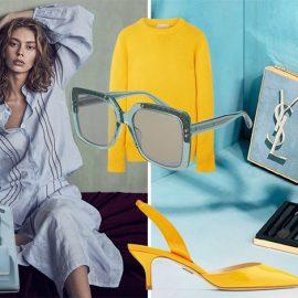 Κομψότητα σε τόνους γαλάζιους και κίτρινου! Τσάντα, Prada // Κίτρινη μπλούζα, Michael Kors // Γυαλιά ηλίου σε γαλάζια απόχρωση, με λεπτομέρεια από το κλασικό μοτίβο incroccio, Bottega Veneta // Κίτρινο slingbang, Paul Andrew // Από την ανοιξιάτικη συλλογή μακιγιάζ σε γαλάζιους τόνους, Yves Saint Laurent