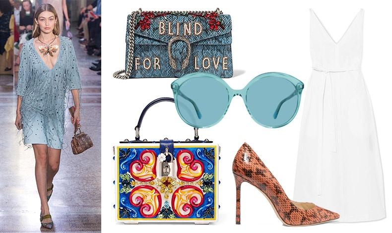 Aπό την πασαρέλα άνοιξη-καλοκαίρι 2018, Bottega Veneta // Τσάντα με κεντήματα, Gucci // Γαλάζια γυαλιά ηλίου σε φλούο τόνο, Gucci // Φόρεμα, Joseph // Τσαντάκι από λάκα, Dolce&Gabbana // Ψηλοτάκουνη γόβα, Jimmy Choo