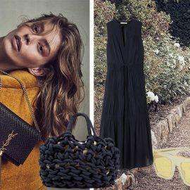 Σκούρο μπλε τσαντάκι, Saint Laurent // Μπλε φόρεμα, James Perse // Πλεκτή τσάντα, Alienina // Γυαλιά ηλίου σε κίτρινη απόχρωση, από τη νέα συλλογή, Stella McCartney