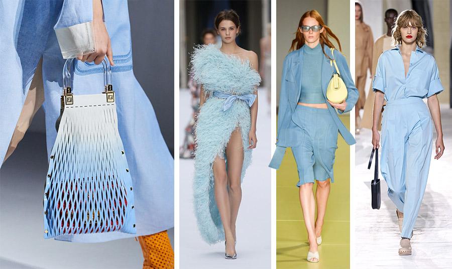Το παστέλ γαλάζιο κυριαρχεί στις ανοιξιάτικες συλλογές των μεγάλων οίκων σε πολλές παραλλαγές. Γαλάζιο σύνολο και τσάντα, Fendi // Σέξι τουαλέτα, Ralph &Russo // Σύνολο γαλάζιο με πινελιά σε ανοιχτό κίτρινο για την τσάντα, Salvatore Ferragamo // Γαλάζιο πουκάμισο με φαρδύ παντελόνι, Hermes