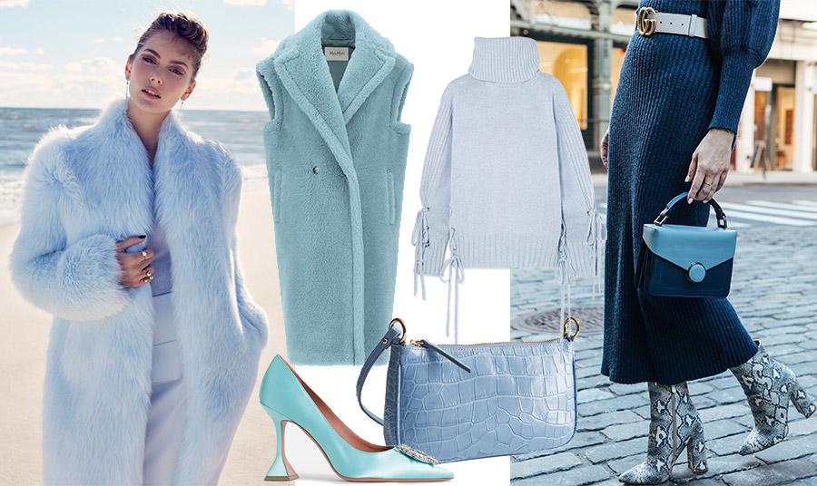Φέρτε την άνοιξη στην γκαρνταρόμπα σας μέσα στον χειμώνα με ένα γαλάζιο παλτό ή γούνα // Αμάνικο πανωφόρι σε μπουκλέ https://www.womanidol.com/moda/trendspotting/boukle-yfasma-i-megali-tasi-tou-2021-sti-moda-kai-sto-spiti-mas/γαλάζιο, Max Mara // Παστέλ γαλάζιο πουλόβερ, Alexander McQueen // Τι θα λέγατε για μία τσάντα ή γόβα στη γλυκιά αυτή απόχρωση; // Συνδυάστε ένα πλεκτό μπλε φόρεμα με πινελιές γαλάζιου στα αξεσουάρ