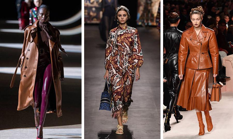 Η απόχρωση της καραμέλας σε ένα εντυπωσιακό δερμάτινο, χειμώνας 2021, Saint Laurent // Φόρεμα εμπριμέ στις αποχρώσεις του καφέ, άνοιξη 2021, Dior // Εντυπωσιακό δερμάτινο σύνολο, από τη χειμωνιάτικη συλλογή, Fendi