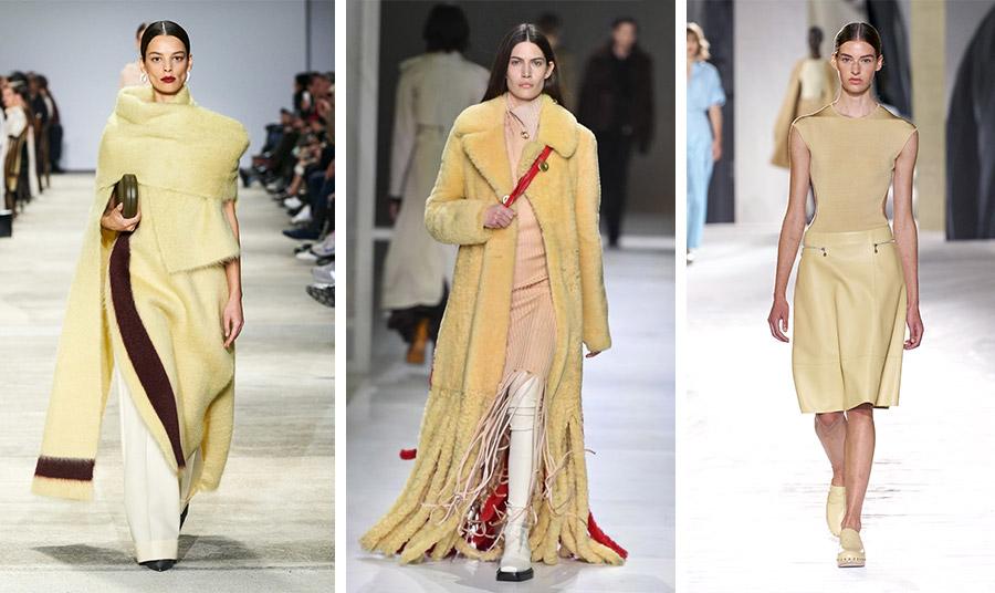 Παστέλ κίτρινο από τις πασαρέλες χειμώνας 2021 Jil Sander (αριστερά) Bottega Veneta (στο κέντρο)// Από τη νέα συλλογή άνοιξη-καλοκαίρι 2021, Hermes