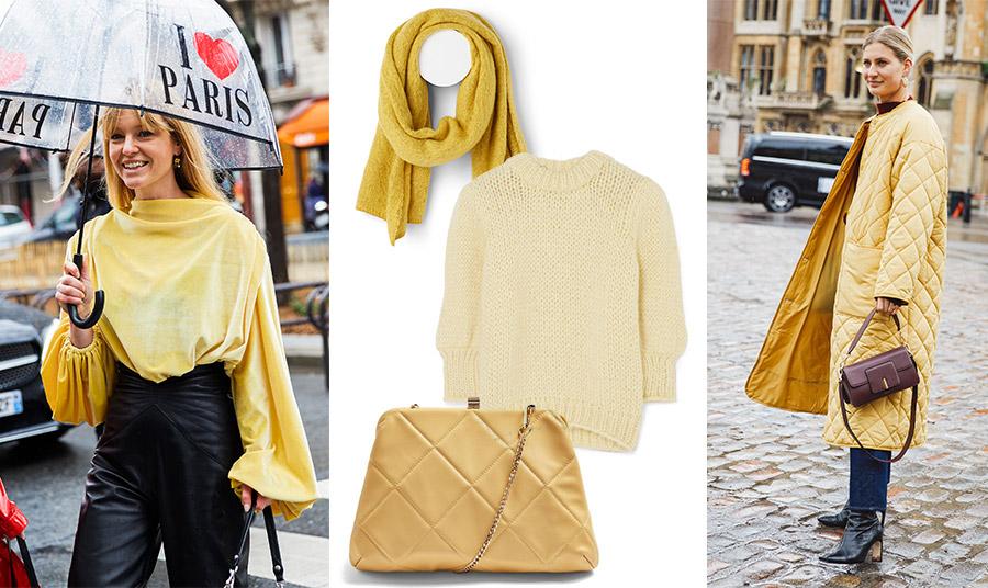 Το φωτεινό κίτρινο είναι επίσης πολύ της μόδας για ολόκληρο το 2021, άλλωστε είναι και ένα από τα δύο χρώματα της χρονιάς από την Pantone // Δοκιμάστε να δώσετε μία πινελιά έντονου κίτρινου με ένα μπουκλέ https://www.womanidol.com/moda/trendspotting/boukle-yfasma-i-megali-tasi-tou-2021-sti-moda-kai-sto-spiti-mas/ κασκόλ // Σε απαλό κίτρινο το πουλόβερ, Ganni // Τσάντα καπιτονέ, Topshop // Φωτίστε τις μουντές ημέρες του χειμώνα με ένα λαμπερό κίτρινο πανωφόρι