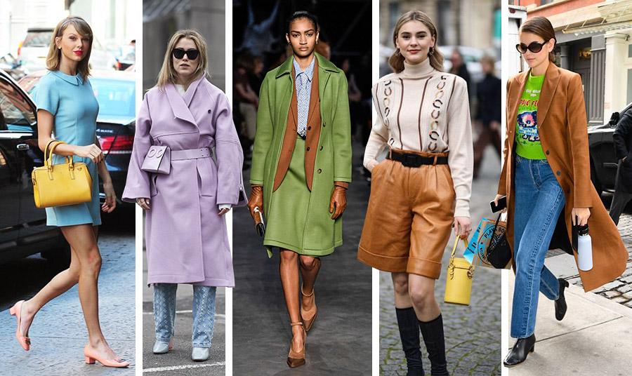 Παστέλ γαλάζιο με φωτεινό κίτρινο όπως η Taylor Swift // Στην απόχρωση της λεβάντας με ανοιχτό γαλάζιο // Συνδυασμός ανοιχτό πράσινο-καφέ καραμελέ και παστέλ γαλάζιο, Burberry // Το χρώμα της καραμέλας με μπεζ αλλά και τσαντάκι σε φωτεινό κίτρινο για την Stefanie Giesinger // Τζιν, φωτεινό πράσινο και πανωφόρι στο γλυκό καφέ για το casual look της Kaia Gerber