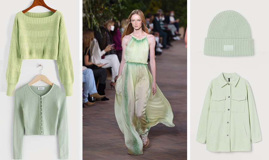 Βάλτε από τώρα το ανοιχτό πράσινο στη ζωή σας! Βαμβακερό πουλόβερ ή κοντό ζακετάκι, & Other Stories // Από την ανοιξιάτικη συλλογή, αέρινο φόρεμα, Alberta Ferretti // Σκουφάκι και κοτλέ τζάκετ, Η&Μ