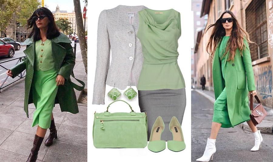 Η μονοχρωμία με διαφορετικές αποχρώσεις του πράσινου // Δημιουργήστε μία κομψή εικόνα με έναν συνδυασμό από γκρι και παστέλ πράσινο και για τη δουλειά σας // Μαντό και φόρεμα από ανοιχτό πράσινο με λευκά μποτάκια