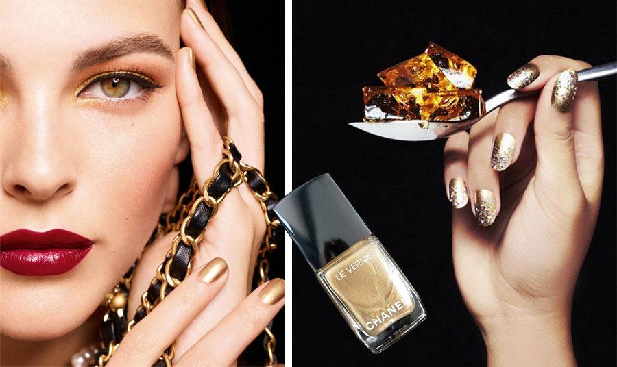 """Από τη συλλεκτική συλλογή μακιγιάζ Chanel """"Les Chaines"""", χρυσή μεταλλική σκιά στα μάτια, λαμπερά σε σκούρο κόκκινο στα χείλη και χρυσά αστραφτερά νύχια // Στολισμένα με μικρά «πετράδια» σε πιο σκούρα έκδοση του χρυσού μανικιούρ"""