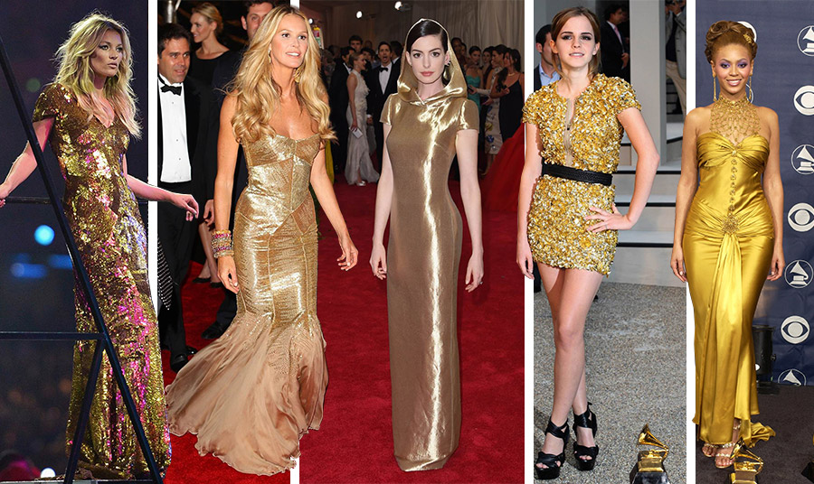 Τα χίλια… πρόσωπα ενός χρυσού φορέματος: Η Κέιτ Μος στην τελετή λήξης των Ολυμπιακών Αγώνων του Λονδίνου // Η Ελ Μακ Φέρσον στο πάρτι για τις Χρυσές Σφαίρες το 2012 // Η Αν Χάθαγουεϊ στο Met Gala το 2015 // Η Έμμα Γουότσον στην Εβδομάδα Μόδας του Λονδίνου το 2009 // Η Μπιγιονσέ στα βραβεία Grammy το 2004 (παίρνοντας πέντε εκείνη τη χρονιά!)