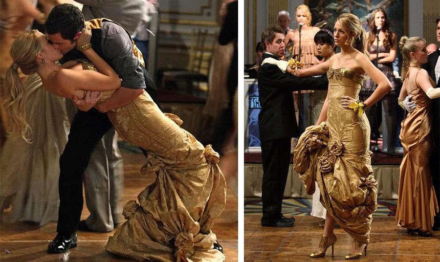 Η Blake Lively με το ανεπανάληπτο χρυσαφί φόρεμα της σχεδιάστριας Pamela Dennis, στον χορό του… Gossip Girl