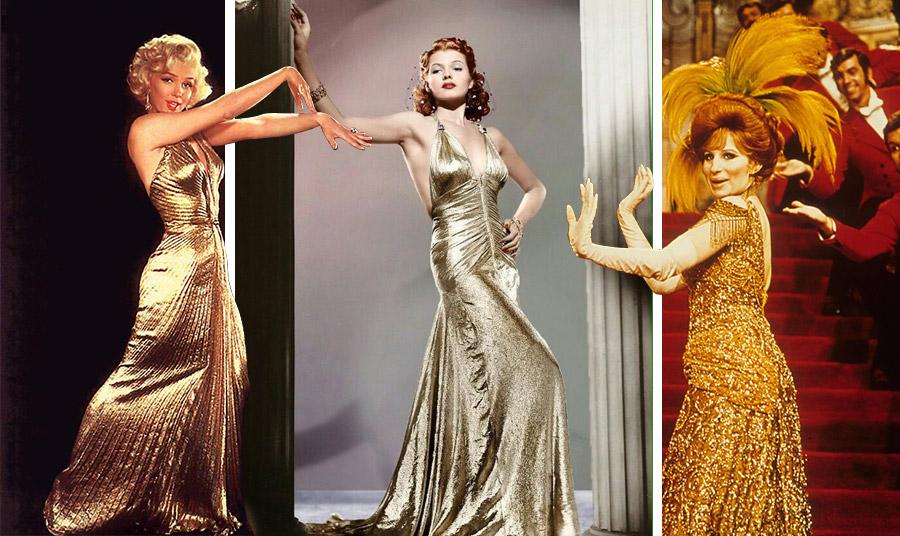 Η Μέριλιν Μονρόε με το αθάνατο… λαμέ χρυσό φόρεμα στην ταινία «Οι άνδρες προτιμούν τις ξανθές» // Η Ντόρις Ντέι από τη μακρινή… εποχή του Χόλιγουντ απαστράπτουσα μέσα στη χρυσαφί τουαλέτα της // Η Μπάρμπαρα Στρέιζαντ με χρυσή τουαλέτα με παγιέτες και κέντημα στην ταινία Ηello Dolly του 1969