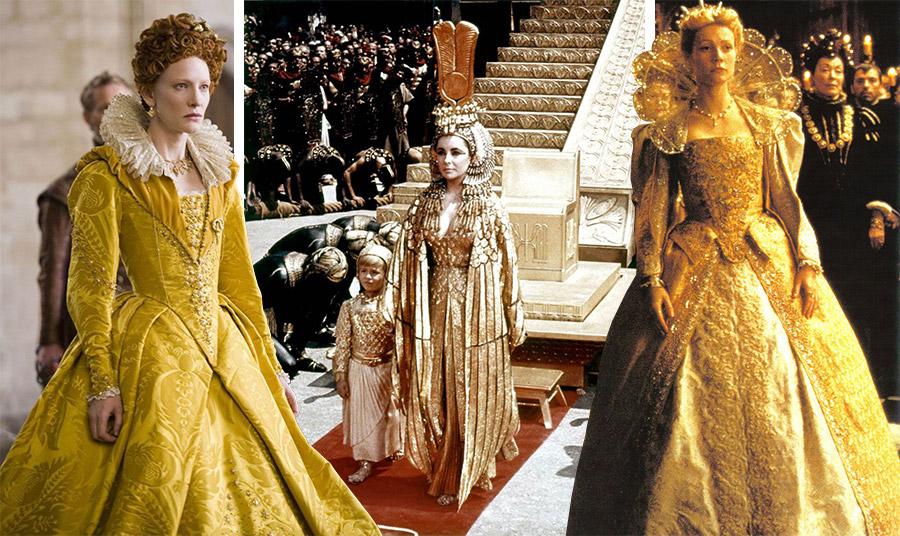 Η Κέιτ Μπλάνσετ στην ταινία «Ελίζαμπεθ» του 2007 // Η Ελίζαμπεθ Τέιλορ ως Κλεοπάτρα στην ομώνυμη ταινία του 1963 // Η Γκούινεθ Πάλτροου με χρυσή αμφίεση για την ταινία «Ερωτευμένος Σαίξπηρ» το 1998