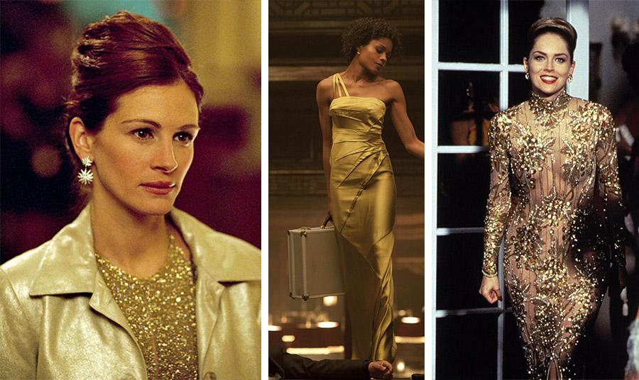 Η Τζούλια Ρόμπερτς με φόρεμα γεμάτο χρυσή λάμψη στην ταινία «Οcean's Eleven», το 2004 // Η Ναόμι Χάρις με χρυσό σατέν μάξι φόρεμα στο «Skyfall» το 2012 // Η Σάρον Στόουν στην ταινία «Casino» to 1995, με χρυσή τουαλέτα με κεντήματα και διαφάνειες