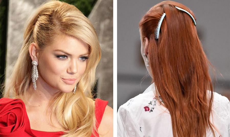 Πιάστε τα μαλλιά σας από τη μία ή και από τις δύο πλευρές του προσώπου προς τα πίσω και στερεώστε τα με τα χτενάκια σας