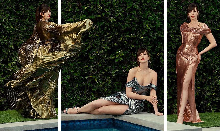 """Η φωτογράφηση για την προώθηση της νέας της ταινίας """"Locked Down"""", η Anne Hathaway με τρεις εκπληκτικές δημιουργίες σε μεταλλικές αποχρώσεις (από αριστερά προς τα δεξιά), Azzaro, Vivienne Westwood, Versace"""