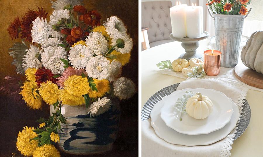 Πηγή έμπνευσης και για πίνακες ζωγραφικής, Claude Raguet Hirst // Πορτοκαλί χρυσάνθεμα σε ένα αλουμινένιο κάδο δίνουν τη χρωματική νότα σε ένα τραπέζι στρωμένο με λευκά! Λευκές μικρές κολοκύθες, λευκά κεριά, λευκό τραπεζομάντιλο και πιάτα