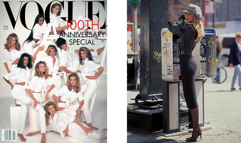 Φωτογραφημένη με τις υπόλοιπα διάσημα μοντέλα της δεκαετίας του ΄90 για την επέτειο των 100 χρόνων της Vogue από τον Patrick Demarchelier // Φωτογραφία του αγαπημένου της φωτογράφου Arthur Elgort το 1992